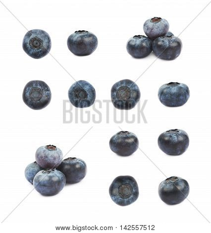 Set of bilberry images isolated over the white background