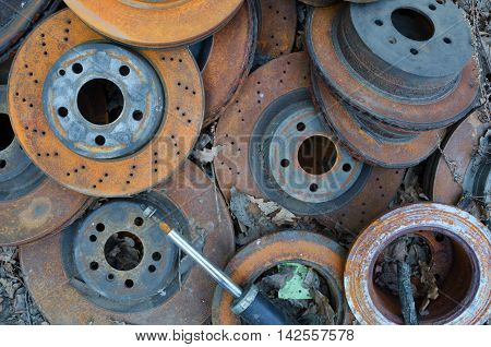 Useless, worn out old rusty brake discs