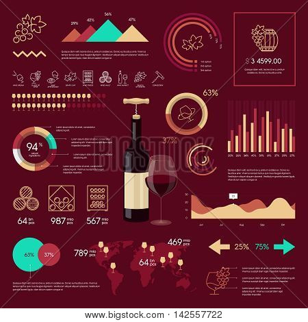 Premium quality wine infographic on vinous background. Modern web graphics linear icons.