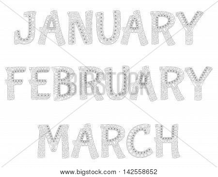 Names of months in the year. January,february,march. Zentangle style. Antistress coloring book. Vector illustration.