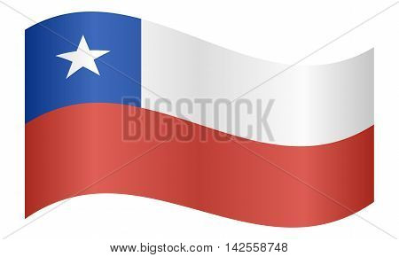 Flag of Chile waving on white background. Chilean national flag. vector