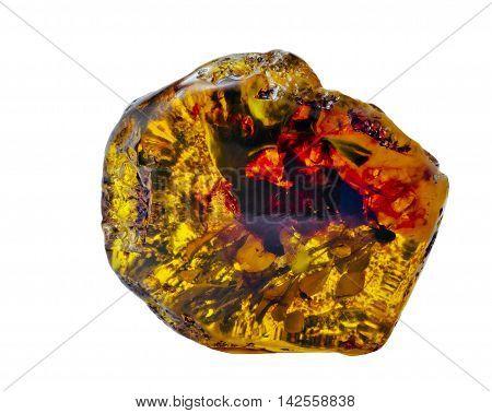 Big piece amber isolated on white background