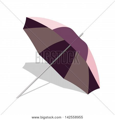 Vector beach umbrella with shadow isolated on white background. Parasol illustration for vacation or tourism advertising. Tropical sun protection