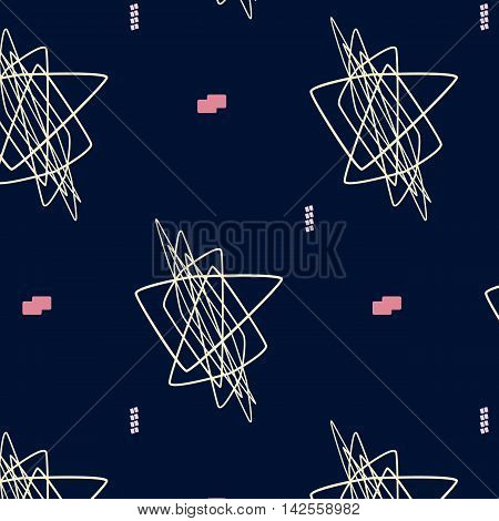 Hand drawn geometric hipster stylish pattern. Vector art. Pastel colored modern grange chaos shapes wallpaper . Trendy freehand composition . Speed style natural painting .