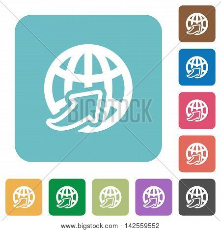 Flat worldwide icons on rounded square color backgrounds.