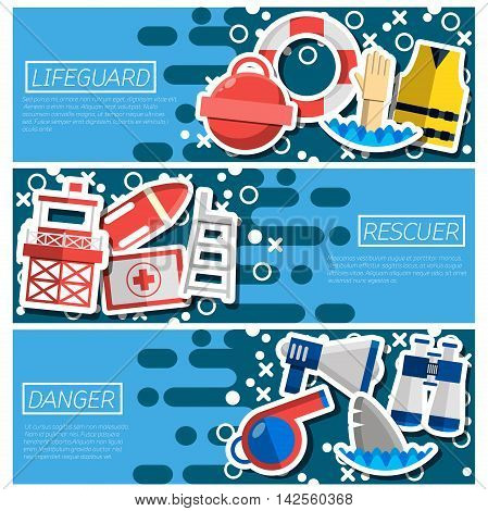Set of Horizontal Banners about lifeguard. Vector illustration, EPS 10