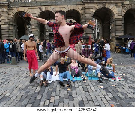 EDINBURGH- AUGUST 13: Members of 38 Buried Roses publicize their show Beach Party during Edinburgh Fringe Festival on August 13, 2016 in Edinburgh