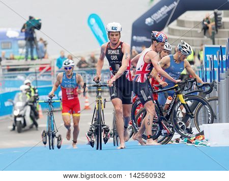 STOCKHOLM - JUL 02 2016: Triathlete Alistair Brownlee and Fernando Alarza in the transition zone in the Men's ITU World Triathlon series event July 02 2016 in Stockholm Sweden