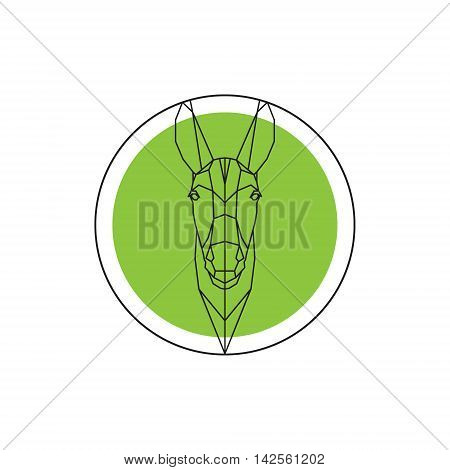 Donkey head on green round logo. Vector illustration.