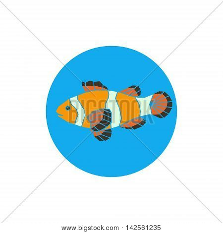 Polygonal illustration of vector parrot-fish on blue background.