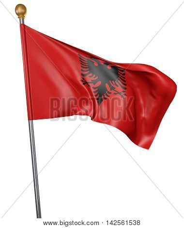 National flag for country of Albania isolated on white background, 3D rendering