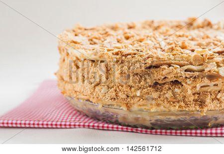 Round Cake Napoleon On A White Background