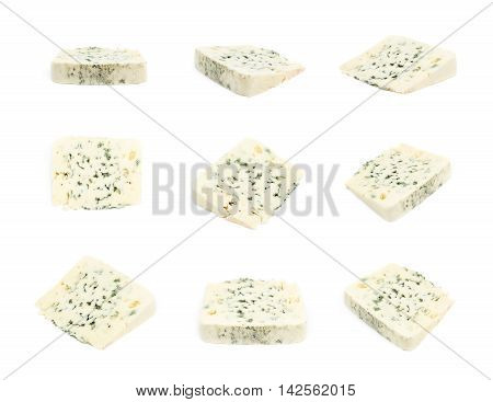Slice of a blue roquefort cheese isolated over the white background, set of nine different foreshortenings