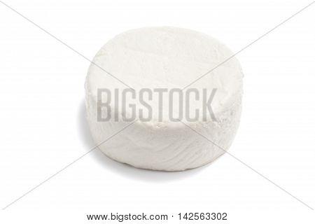 Fresh Ricotta cheese over a white background