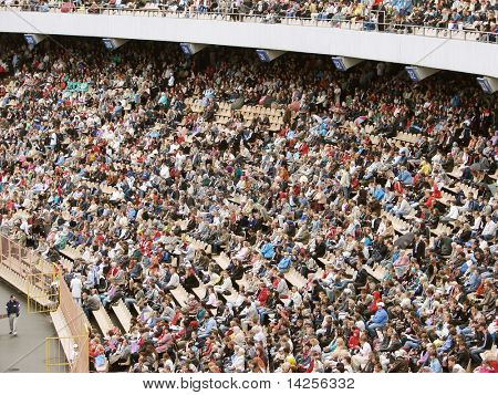 People on the big stadium