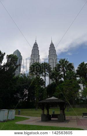 Kuala Lumpur/Malaysia - September 2012: Park near the Petronas Twin Towers in Kuala Lumpur, Malaysia.