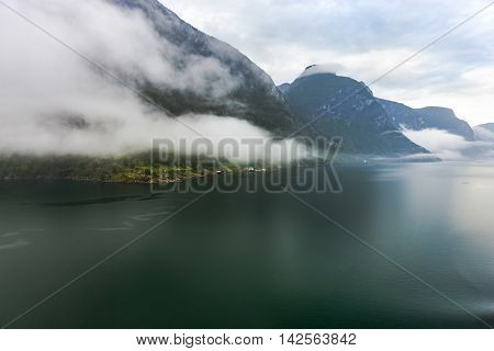 Foggy Air Over Scandinavian Mountains And Norwegian Fjord, Flam