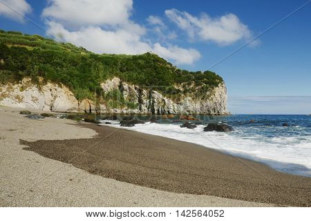 amazing beautiful sea landscape view of Moinhos beach at Porto Formoso Sao Miguel cost in Azores island of Portugal in holiday and vacation travel destination concept and summer tourism in Europe
