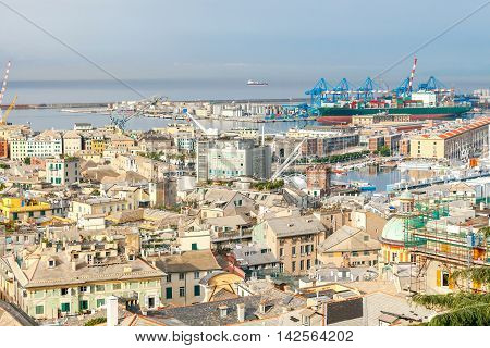 Aerial view of the port and Genoa from the hill.
