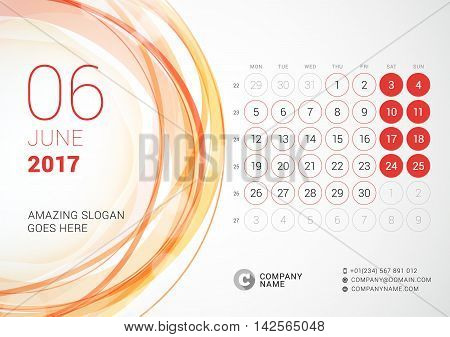 Desk Calendar For 2017 Year. June. Week Starts Monday. Vector Design Print Template With Abstract Ci