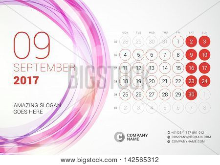 Desk Calendar For 2017 Year. September. Week Starts Monday. Vector Design Print Template With Abstra