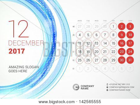 Desk Calendar For 2017 Year. December. Week Starts Monday. Vector Design Print Template With Abstrac