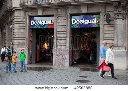 Barcelona Spain - October 27 2015: Desigual shop in Barcelona Spain. Desigual is a manufacturer of clothing and footwear based in Barcelona.