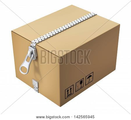 Cardboard box with the zipper isolated on white background - 3D illustration