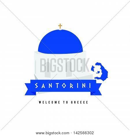 Santorini Island Greece Symbol In Blue And White Illustration