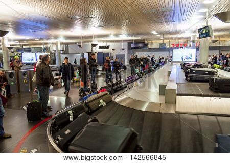 OSLO GARDERMOEN NORWAY - NOVEMBER 2:Interior of Oslo Gardermoen International Airport on november 2 2014 in Oslo. The airport has biggest passenger flow in Norway.