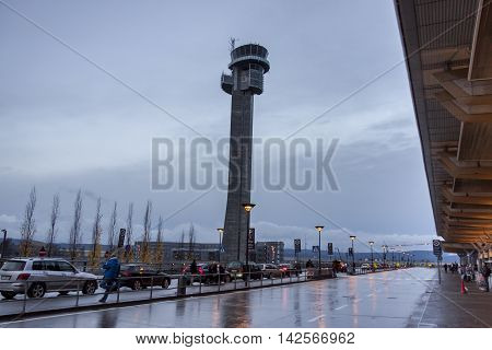 OSLO GARDERMOEN NORWAY - NOVEMBER 3:Oslo Gardermoen International Airport on november 3 2014 in Oslo. The airport has biggest passenger flow in Norway.
