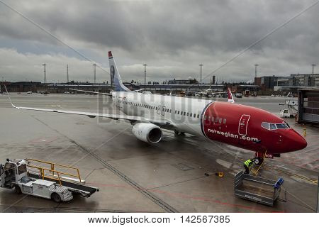 OSLO GARDERMOEN NORWAY - NOVEMBER 3:Aircrafts at Oslo Gardermoen International Airport on november 3 2014 in Oslo. The airport has biggest passenger flow in Norway.