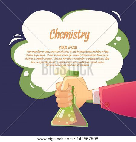 Background for the teaching of chemistry in a fun cartoon style. Vector illustration with supplies for chemistry lessons