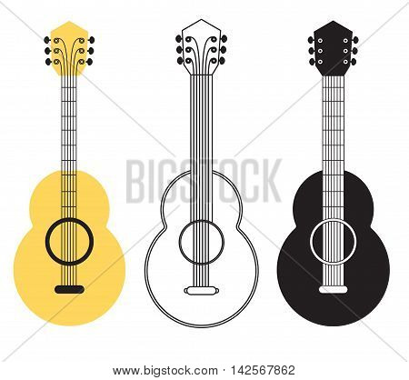 Classical acoustic guitar set. Musical string instrument. Design elements. Vector icons collection
