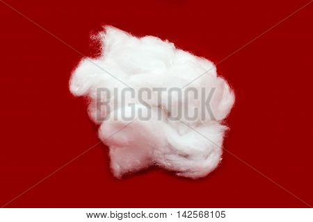 cotton wool medicine on a red background