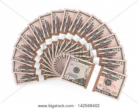Money fan on white background. Fifty dollars. 3D illustration.