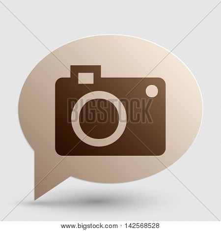Digital camera sign. Brown gradient icon on bubble with shadow.