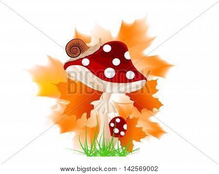 Cartoon red mushroom with autumn leaves and grass