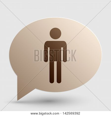 Man sign illustration. Brown gradient icon on bubble with shadow.