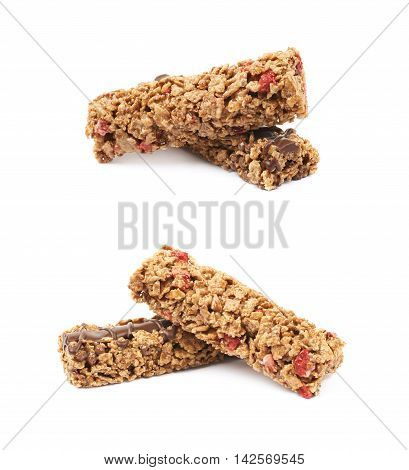 Pile of two nutrient chewy grains bars, composition isolated over the white background, set of two foreshortenings