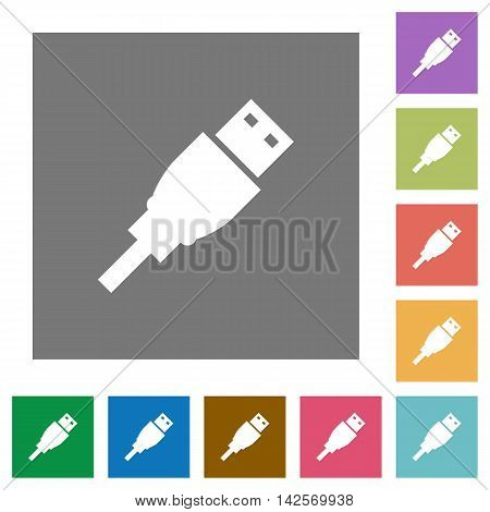 USB plug flat icon set on color square background.
