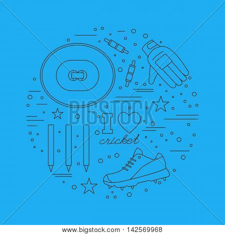 Round composition with cricket game symbols and objects. Cricket game icons arranged in round shape. Professional sport equipment graphic design elements isolated on blue background. Vector template.