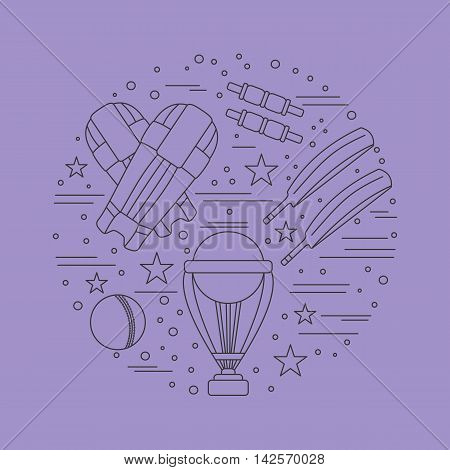 Round composition with cricket game symbols and objects. Cricket game icons arranged in round shape. Professional sport equipment graphic design elements isolated on purple background. Vector template