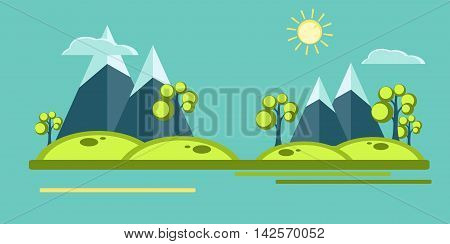 Mountain vector veiw in  flat style. Vector signs, elements for your design. Sun, clouds, mountains, trees over blue sky. Eps10