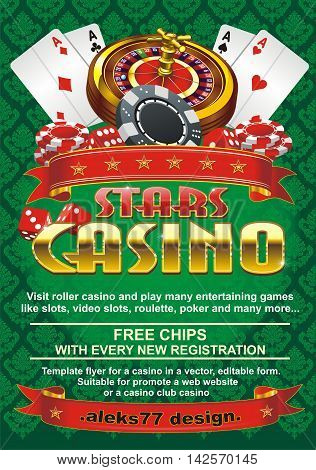 Template flyer for a casino on a green background, editable vector shape. Suitable for promote a web website or a casino, club casino