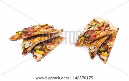 Three slices of a mexican pizza isolated over the white background, set of two different foreshortenings
