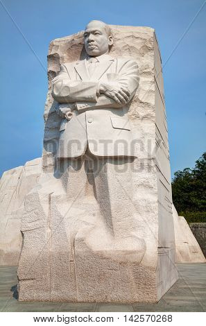 WASHINGTON DC - SEPTEMBER 2: Martin Luther King Jr memorial monument on September 2 2015 in Washington DC.