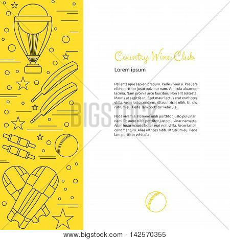 Flyer poster with cricket symbols and objects and with place for text. Vector sport template with professional cricket sport graphic design elements in thin line style isolated on colorful background