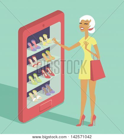 Mobile shopping e-commerce concept flat vector illustration