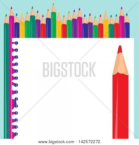 Color pencil and notebook paper back to school background